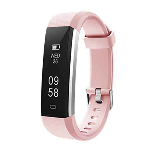 MISSJJ Reloj Inteligente para Mujer Hombre Niños, Pulsera Actividad Impermeable IP67, Podómetro, Control Remoto de Cámara, Recordatorio Sedentario (Rose)