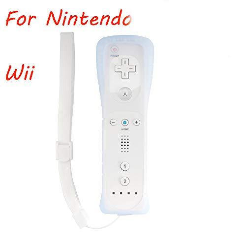 Video Game Remote Controller White with Silicone Case + Wrist Strap for Nintendo Wii Game Console
