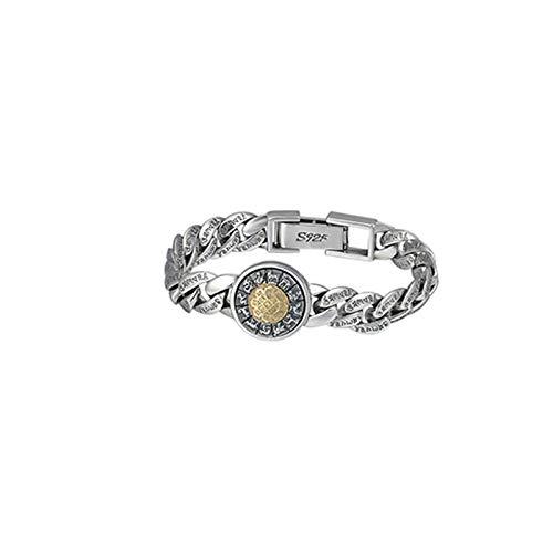 Aienid Armreif Herren Rotierendes Chinesisches Tierkreis-Armband-Mantra 7.8 Inch Silber Gold Armband für Männer