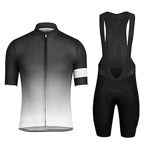 HXTSWGS Conjunto de Jersey de Ciclismo para Hombre, Pantalones Cortos de Bicicleta de compresión de Manga Corta para Hombre, Ropa de Ciclismo Acolchada con gel-A02_5XL