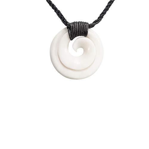 81stgeneration Hueso Tallado A Mano Maorí Símbolo Koru Espiral Collar Colgante de Hombre Mujer