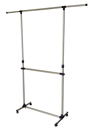 EWEI'S HomeWares Adjustable Double Rods Rolling Clothing Rack ...