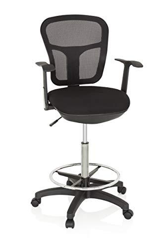 hjh OFFICE 760008 Arbeitsstuhl TOP Work 108 Netzstoff Schwarz ergonomischer Counterstuhl mit Ring-Fußstütze