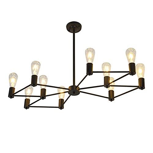BINHC Lámpara de Techo Tipo Candelabro, Vine Lámpara de Techo de Metal Negro Industrial Diseño de Simplicidad Interior de 10 Llamas Decorativo para Dormitorio Sala de Estar Restaurante Hotel
