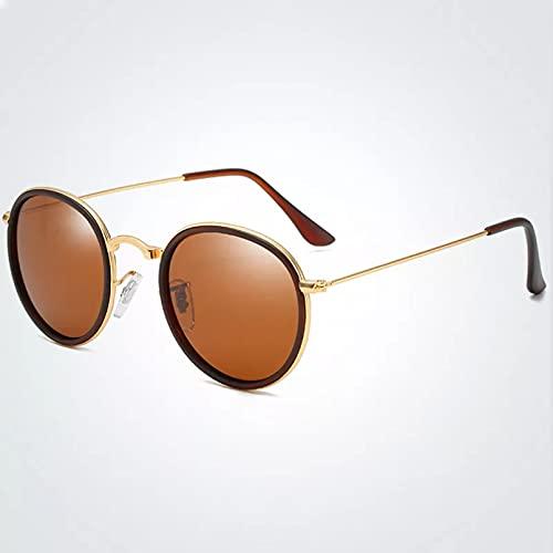 TYOLOMZ Gafas de Sol polarizadas para Hombre Gafas de Sol Redondas Gafas de Sol clásicas para Conducir Gafas de Sol UV400 Sombras
