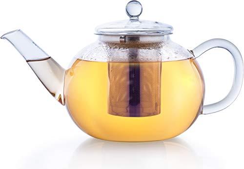 Creano glazen theepot 1.2l 3-delige theepot met geïntegreerde roestvrijstalen zeef en glazen deksel, ideaal voor het…