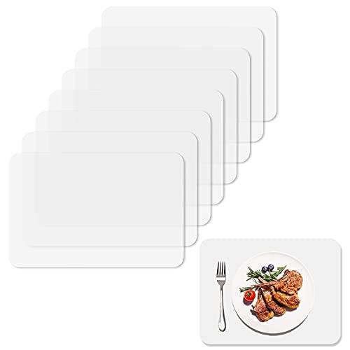8 Stück Tischset Transparent,Schmutzabweisend Abwaschbar Kunststoff Platzsets,Premium Abgrifffeste Hitzebeständig Platzdeckchen,rutschfest Tischmatte für Tisch, Esszimmer, Küche, 40 * 30cm