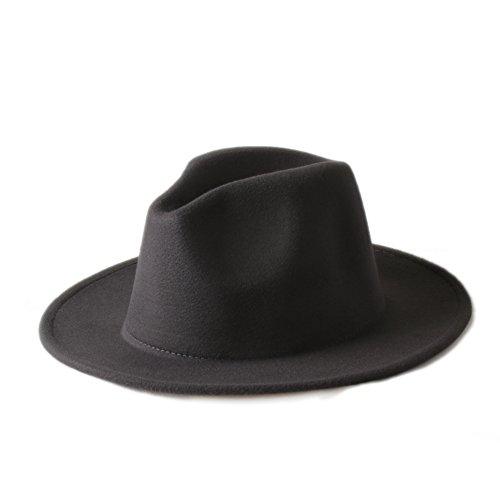 Yhuisen 帽子 ファッションキャップ、メンズレディース100%ウールVTGワイドブリムフェルトトゥルービーハットBNWT / NEWギャングスターフェドーラハットチャーチチャット10色 (色 : 8, Size : 57-58CM)