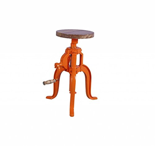 Jabulo Industrial Hocker Barhocker höhenverstellbar mit Kurbel Drehhocker Vintage Retro orange