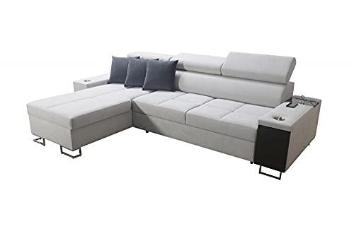 Ecksofa Megy I Mini Wohnlandschaft Sofa mit Bettkasten Schlaffunktion USB Eingang Bett Couch Links Rechts Modern 26 (Links)