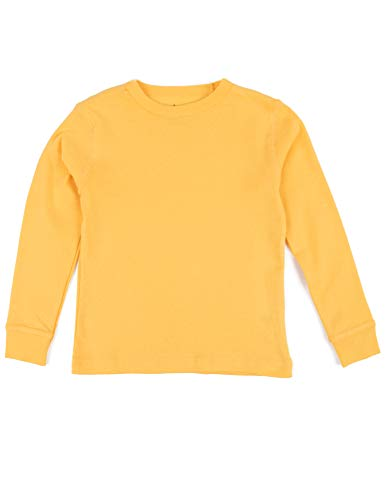 Leveret Long Sleeve Boys Girls Kids & Toddler T-Shirt 100% Cotton (12 Years, Yellow)