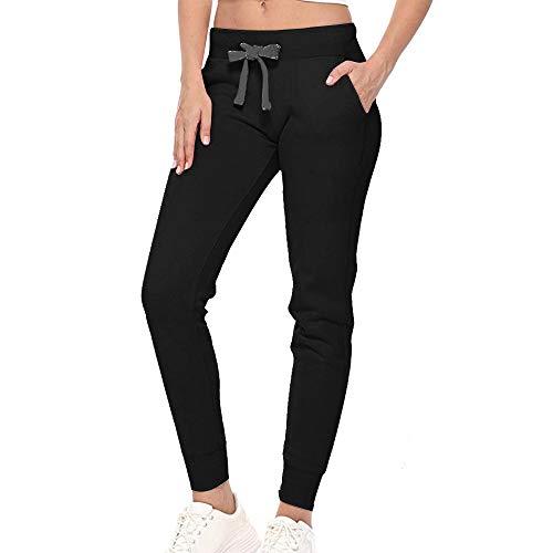 Shujin - Pantalones de chándal para mujer, con puños y forro polar, para otoño e invierno, elásticos, con cordón