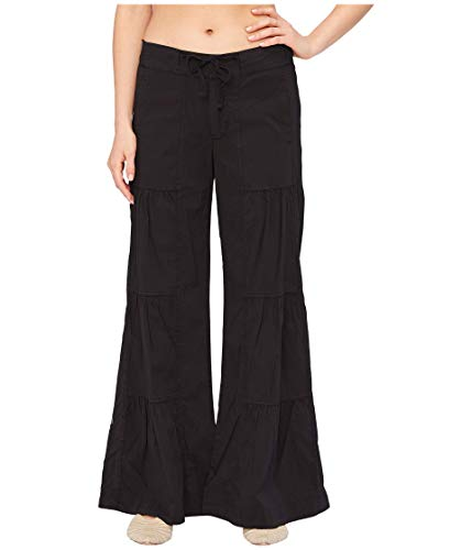 XCVI Wearables Terraced Wide Leg Stretch Poplin Pants Black LG (Women