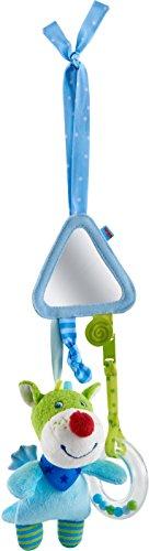 HABA 303876 - Spielfigur Drache Duri  Baby-Spielzeug zum Festbinden mit Kuscheltier, Spiegel und Rassel   Ab 6 Monaten