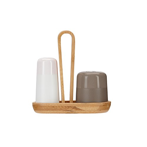 ZENS Porcelain Salt and Pepper Shakers with Lid, Gloss-Matte Finish Shaker Dispenser Set with Bamboo Serving Tray Holder for Kitchen Spice