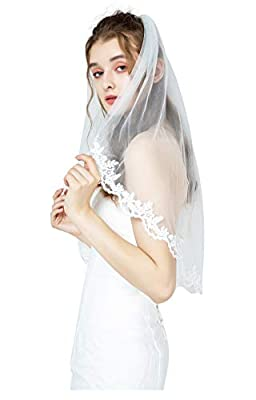 "Wedding Bridal Veil with Comb 1 Tier Lace Applique Edge Fingertip Length 36"" Ivory"