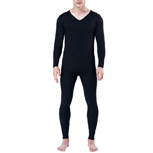 Men's long sleeve breathable thermal underwear is self heating at constant temperature. Men's thermal underwear can absorb moisture and sweat, which is suitable for outdoor spo(Color:black,Size:Large)