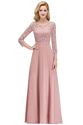 MisShow Damen Abendkleider lang mit ärmeln Rosa Ballkleider 46