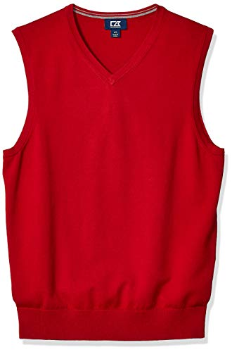 Cutter & Buck Men's Cotton-Rich Lakemont Anti-Pilling V-Neck Sweater Vest, Cardinal red, X-Large