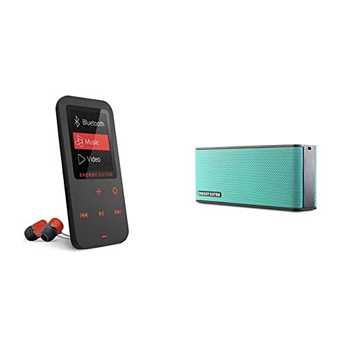Energy Touch - Reproductor MP4 (Bluetooth, 8 GB, Botones táctiles, Radio FM, microSD), Coral + Sistem Energy Music Box B2 Bluetooth Mint, Altavoz Portátil Inalámbrico.