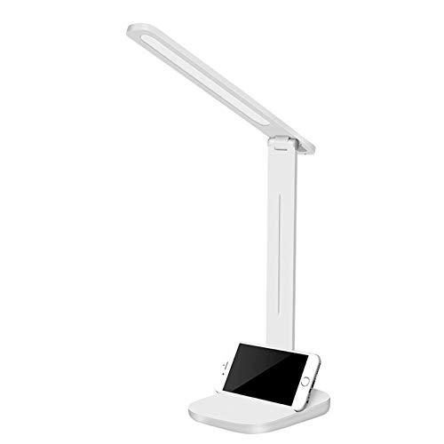 HENY Lámpara De Flexo Escritorio,Control Tátil LED Cuidado De Ojos Regulable Lámpara De Mesa,3 Niveles De Luz X 6 Nivel De Brillo,con Carga USB Clase De Energía A+++-Blanco