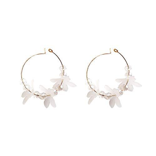 Pendientes de flor de circonita blanca pura de temperamento suave pendientes mujer dulce anillo de oreja de corazón de niña