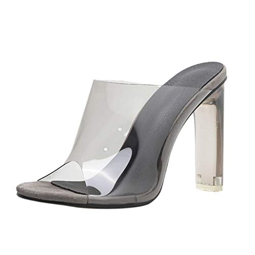 Luckycat Zapatos de Mujer Solo para Mujeres Cerrojo Transparente de Tacón Grueso de Tacón Alto Zapatos de Ocio Sandalias Sandalias Estiletes Verano Correa-Tubillo Cierre-Hebilla para Mujer