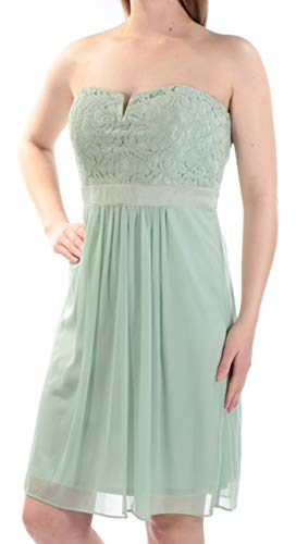 Price comparison product image Adrianna Papell Women's Lace Strapless Sweetheart Mini Dress Green Size 8