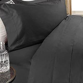 1200 Thread Count Three (3) Piece California King Size Black Solid Duvet Cover Set, 100% Egyptian Cotton, Premium Hotel Quality