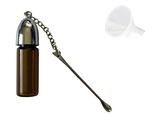 M&M Smartek Dosierer Portionierer Snuff sniff Bottle Spender Dispenser mit Löffel mit Trichter in Verschiedenen Größen und Farben (53mm / braun)