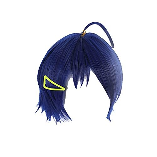 Damofy Wonder Egg Priority Ai Ohto Cosplay Peluca Mujer Elegante Halloween Azul Peluca Corta con Horquilla para Halloween Carnaval Disfraz Fiesta Peluca