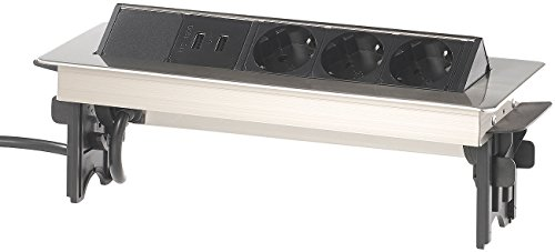revolt Einbau Tischsteckdose: Versenkbare Profi-Einbau-Tisch-Steckdose, 3-fach, 2x USB, Edelstahl (Schreibtisch Steckdose versenkbar)