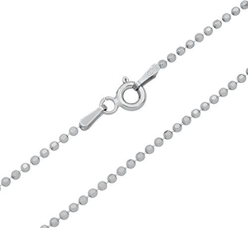 Kugelkette 925 Sterling Silber rhodiniert 8fach facettiert 1,5mm breit Länge wählbar 45 50 55 cm Silberkette Halskette anlaufgeschützt (45)