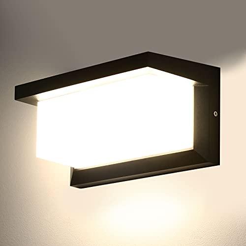 Lightess 18W Apliques de Pared Exterior Lámpara de Pared LED Impermeable IP66 Luz de Aluminio Iluminación para Balcón, Jardín, Porche, Camino, Patio, Negro (blanco neutro)