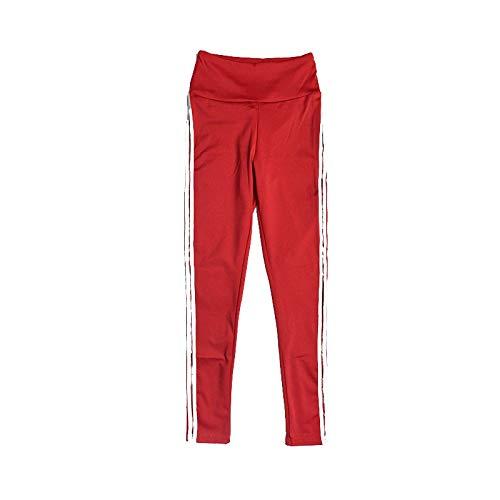 MOHAMED Deportes y Pantalones de Yoga de la Aptitud Que Basa la extensión del Blanco Pliegues Laterales de la Manera Simple (Color : Red, Size : XL)