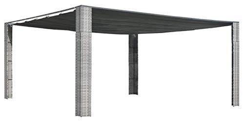 ZHENG Gazebo Plegable Carpas Plegables con Techo Poly Rattan Garden Gazebo Pabellón al Aire Libre Papel Tienda, 400x400x200cm Gray