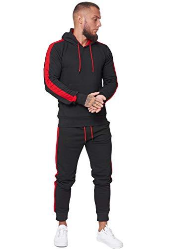 Code47 Herren Jogginganzug Trainingsanzug Männer Sportanzug Fitness Outfit Streetwear Tracksuit Jogginghose Hoodie-Sporthose Sportkleidung Comfort Fit Modell JG-1571C Schwarz Rot M