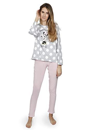 Disney - Pijama Mujer Minnie Manga Larga Verano Mujer Color: Gris Talla: Large