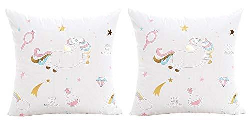 2 kussenslopen vierkant kussen - sierkussen - 44 x 44 cm - bank - linnen - slaapkamer - bed - kinderen - meubels - regenboog - eenhoorn - multi - wit - cadeau-idee you are magical