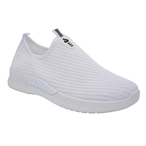 CucuFashion Damen-Sneaker aus leichtem Netzgewebe, zum Reinschlüpfen, bequeme Laufschuhe, für den täglichen Gebrauch, Damen-Sneaker, Weiß - weiß - Größe: 39 EU
