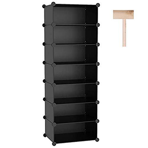"C&AHOME 7-Tier Shoe Rack, 14 Pairs Plastic Shoe Shelves, Space Saving Shoe Storage Organizer Units, Modular Closet Cabinet Ideal for Bedroom Living Room Entryway Hallway, 16.2""L × 12.2""W × 48""H Black"