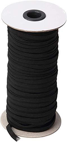 "70-Yards Length 1/4"" Width Black Braided Elastic Cord/Elastic"