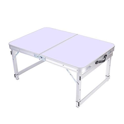 LJT Tragbarer Campingtisch aus Aluminium für EIN Picknick im Freien/Grill/Gartenparty/Auto-Koffer für eine selbstfahrende Tour, Leichter tragbarer Klapptisch für Snacks,White