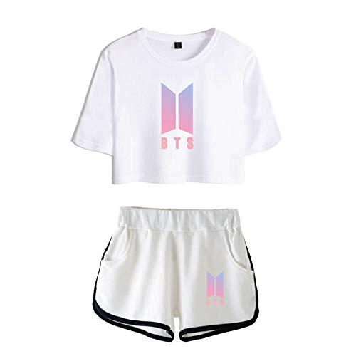 kexx BTS T-Shirt Set Tops y Pantalones Cortos Mujeres Casual Wear Impreso Chándales Kpop Bangtan Boys Fans Verano Ropa Deportiva Conjuntos de Verano Pijamas Gimnasio Ropa Yoga