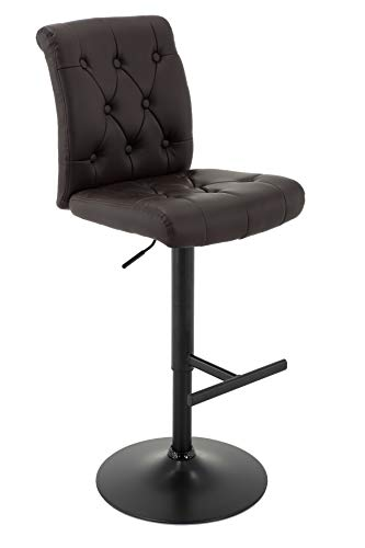 Brage Living Chadwick Adjustable Height Counter and Bar Stool with T-Shape Footrest- Dark Brown