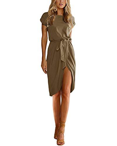 YOINS - Vestido de verano para mujer, cuello redondo, con estampado de flores, elegante, de cintura corta, minivestido para fiestas, playa