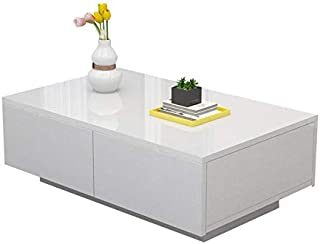 Glossy White Modern Coffee Table with 4 Storage Drawers, Small Size Rectangle Wood Tea Table Easy Assembly Furniture for Living Room Office Home Cocktail Table (41