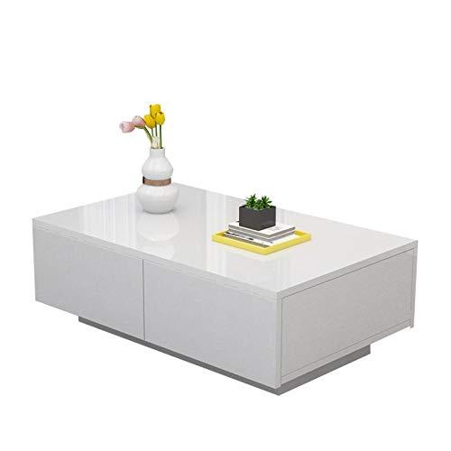 Wohnzimmer Couchtisch, Weiß Kaffeetisch mit 4 großen Schubladen, Moderner Design Sofatisch aus Spanplatte, 95 x 60 x 31 cm