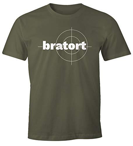 Preisvergleich Produktbild MoonWorks® Herren T-Shirt bratort Fun-Shirt Motiv Shirt Parodie Grillen BBQ Barbecue Koch Sommer Foodie Küche Army XL