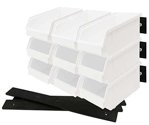 Lantelme Stapelbox 9 Stück Set mit 3 Wandleisten Aufbewahrungsbox weiß stapelbar Kunststoff Deutsche Herstellung 3936